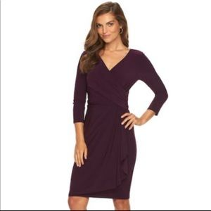 Chaps Faux Wrap Surplice Dress Plum Colored Large